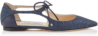 Jimmy Choo VANESSA FLAT Navy Tweedy Canvas and Nappa Leather Pointy Toe Flats