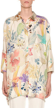 Agnona 3/4-Sleeve Floral-Print Button Front Poncho Shirt
