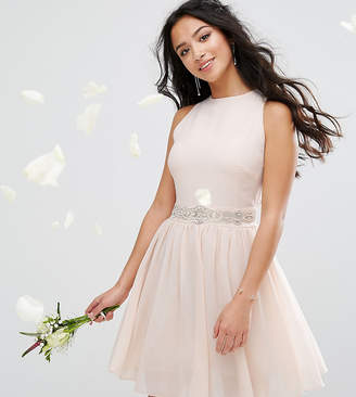 TFNC Petite Wedding High Embellished Mini Dress With Full Skirt