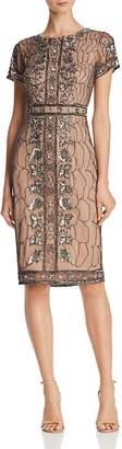Adrianna Papell Embellished Short-Sleeve Dress