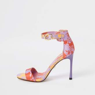 River Island Purple floral print barely there sandals