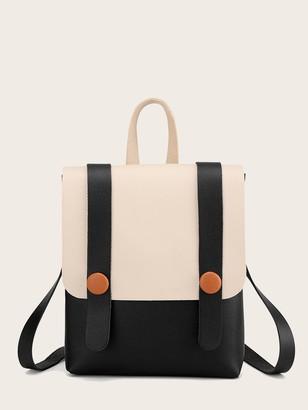 Shein Two Tone Flap Backpack