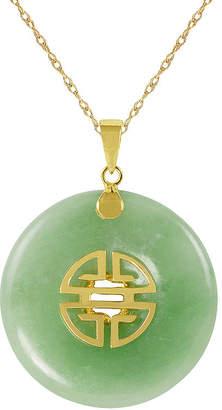 FINE JEWELRY Genuine Jade 10K Yellow Gold Disc Pendant Necklace