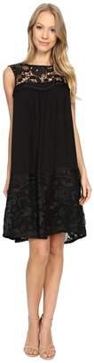 Adrianna Papell Lace Yoke Soft Dress w/ Shirring Women's Dress