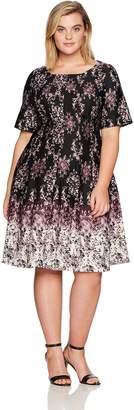 Julian Taylor Women's Plus Size Full Figure Chandelier Printed Fit and Flare Dress, Black/Purple, 16W