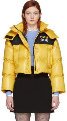 Miu Miu Yellow Down Cropped Jacket