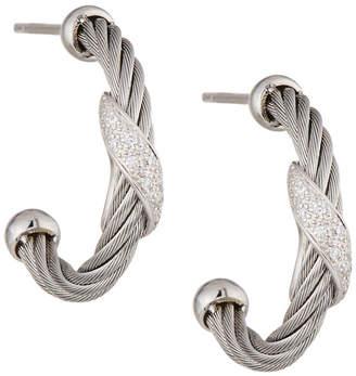 Alor Classique Gray Steel & 18k Diamond Twist Hoop Earrings