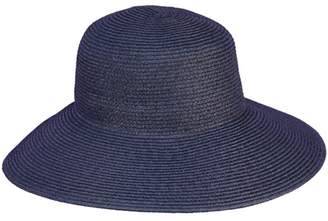 Jendi Adjustable Woven Wide Brim Hat Navy
