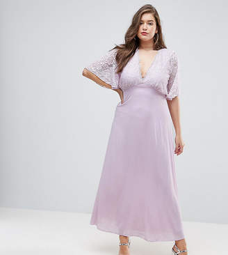 John Zack Plus Open Back Maxi Dress With Fluted Lace Sleeve
