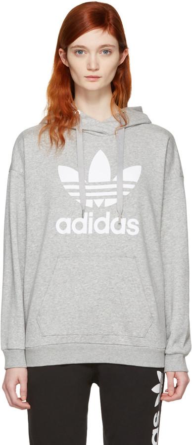 adidas Originals Grey Trefoil Logo Hoodie