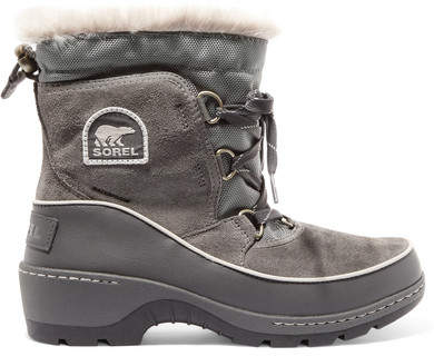 Sorel - Torino Waterproof Suede, Shell And Leather Ankle Boots - Gray