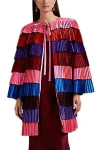 Women's Colorblocked Pleated Satin Coat