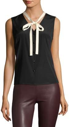 Carolina Herrera Women's Ribbon Neck-Tie Sleeveless Blouse