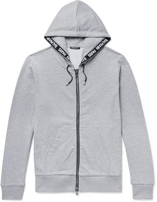 Balmain Logo-Jacquard Loopback Cotton-Jersey Zip-Up Hoodie - Men - Gray