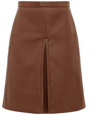 Burberry Inverted Pleat Faux Leather Skirt - Womens - Brown