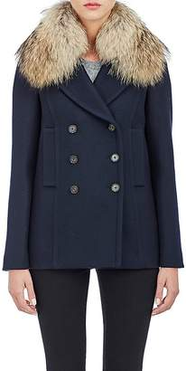 Barneys New York Women's Fur-Collar Double-Breasted Jacket