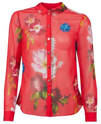 62e3962c0e9ca Ted Baker Floral Frill Detail Shirt Colour  RED
