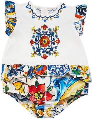 Dolce & Gabbana Flutter-Sleeve Maiolica Tile-Trim Bodysuit, Size 3-12 Months