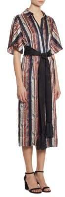 Carmine Striped Silk Shirtdress