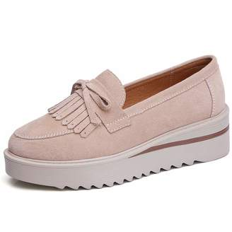 7c729a9ec3f Z.SUO Womens Wide Platform Penny Loafers Slip On Wedge Sneakers Comfortable  Work Shoes