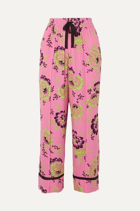McQ Floral-print Crepe De Chine Pants - Bright pink