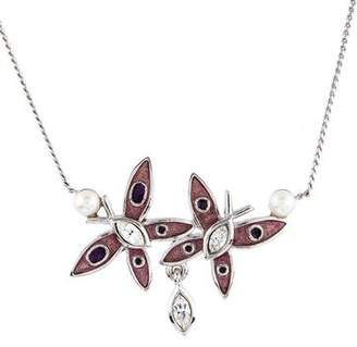 Nina Ricci Crystal & Enamel Butterfly Pendant Necklace