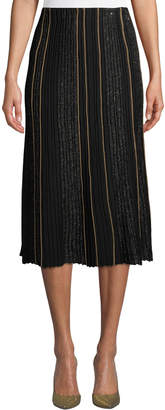 Lafayette 148 New York Fluted Ottoman-Pleated Silk Skirt with Sequined Embellishments
