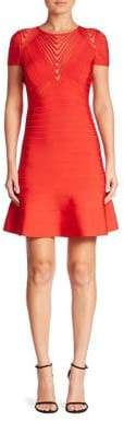 Herve Leger Mesh-Inset Fluted Bandage Dress