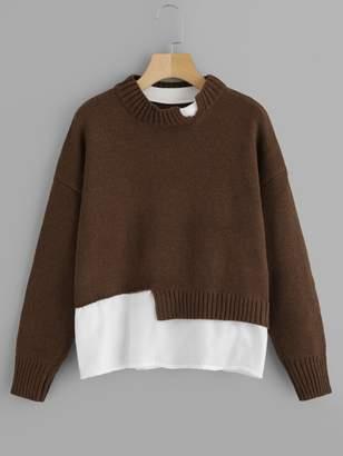 Shein Plus Contrast Hem Drop Shoulder Sweater