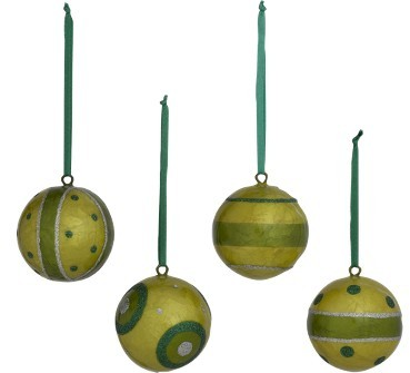 Mini Capiz Ball Ornament Set