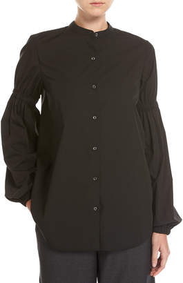 Robert Rodriguez Button-Front Poplin Shirt W/ Puff-Sleeves, Black