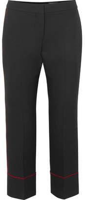 Alexander McQueen Piped Cropped Wool-blend Straight-leg Pants - Black