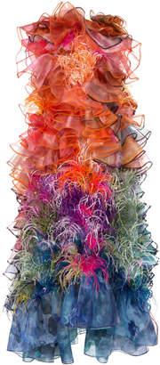Mary Katrantzou Feather-Embellished Ruffled Organza Gown