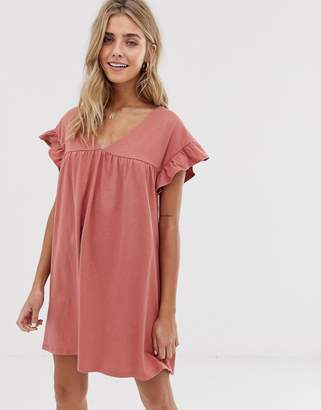 Asos Design DESIGN mini reversible cotton slub smock dress