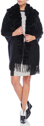 Belle Fare Wool Wrap with Real Fur Pom-Poms
