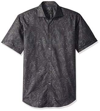 Bugatchi Men's Soft Cotton Shaped Fit Spread Collar Short Sleeve Shirt