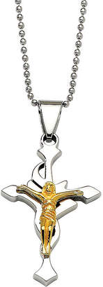 FINE JEWELRY Mens Stainless Steel Yellow Ip-Plated Crucifix Pendant