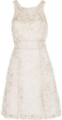 Marchesa Embellished Emmbroidered Gauze And Organza Mini Dress
