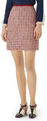 Gucci Stripe Tweed A-Line Skirt