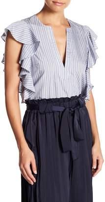 Lucy Paris V-Neck Stripe Print Blouse