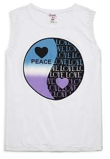 Flowers by Zoe Girls' Distressed Peace Love Yin-Yang Tank - Little Kid