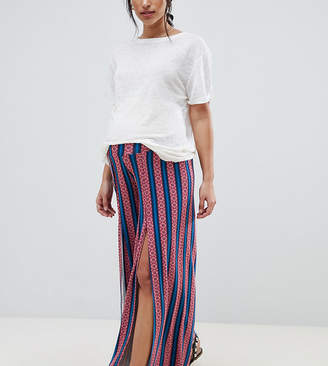 Asos DESIGN Maternity wide leg pants with split front in geo-tribal stripe print