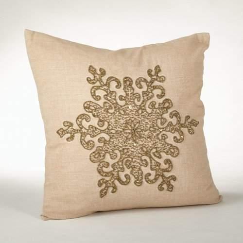 House of Hampton Faversham Snowflake Beaded 100% Cotton Throw Pillow