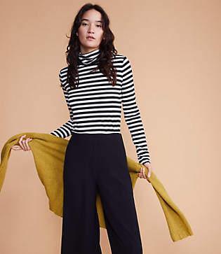 Lou & Grey Striped Softened Jersey Shirttail Turtleneck