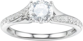 Swarovski Diamonluxe DiamonLuxe Sterling Silver 2 Carat T.W. Simulated Diamond Bypass Ring