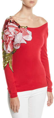 Naeem Khan Off-The-Shoulder Floral Embroidered Cashmere Sweater