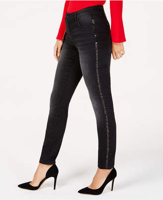 INC International Concepts I.n.c. Sparkle-Stripe Skinny Jeans
