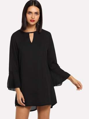 Shein Flounce Sleeve Choker Neck Dress