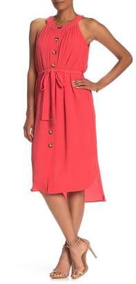 ECI Sleeveless Button Front Midi Dress