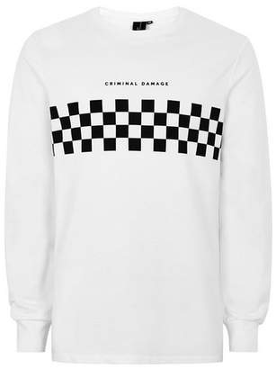 Topman Mens CRIMINAL DAMAGE X White And Black Checkerboard T-Shirt